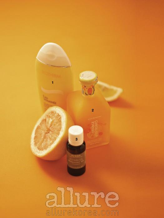 1 프로비타민 B5와 비타민 E유도체 등이 함유되어 피부를 촉촉하고 매끄럽게 가꾸며, 오비타미네만의 독특한 향이 기분까지 상쾌하게 한다. 비오템 오비타미네 보디 로션 200ml4만원. 2 100% 식물성 오일로 만든 제품으로, 세정과 함께 보습작용을 해 피부를 부드럽게 가꾼다. 후르츠 앤 패션 포밍 배스크림 300ml3만9천원. 3 기운을 북돋우는 신선한 아로마로,데오도란트로 사용해도 좋다.아베다 베르가모트 싱귤러 노트30ml3만원.