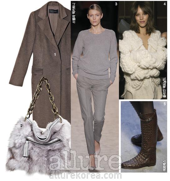 1. 캐시미어 코트는 2백15만원, 랑방 컬렉션(Lanvin Collection). 2. 체인 스트랩 장식의 여우털 가방은 가격미정, 사바티에(Sabatier).