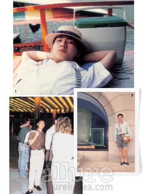 1. 1988년, 청평. 당시 일본 아이돌 그룹 쿠와타 밴드에 심취해있어서 인지 자연스럽게 그들의 일본식 아이비 룩을 즐겨입었다. 2. 1990년, 호주 골드코스트, 주피터 카지노에서 택시를 기다리는 모습. 당시 일본 아이돌 사이에서 유행했던 밑위길이가 긴 팬츠, 게다가 팬츠 밑단을 롤업하는 센스! 3. 약 20년 전, 압구정 갤러리아 백화점 앞이다.