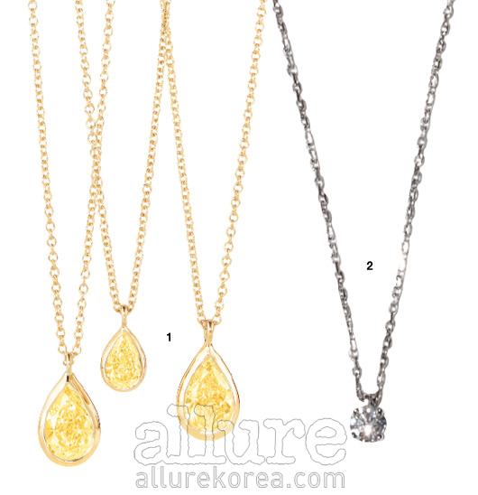 1 0.24캐럿은4백만원대, 0.53 캐럿은 1천만원대의 옐로다이아몬드목걸이는 티파니(Tiffany&Co). 2 0.5캐럿의 다이아몬드 목걸이는 9백만원대, 쇼메(Chaumet).