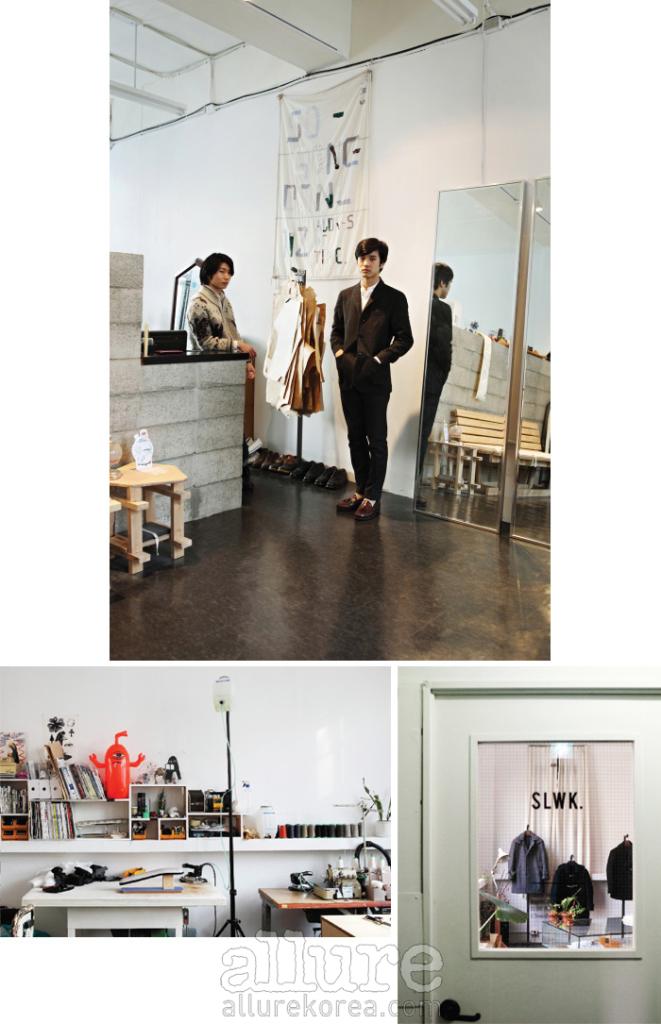 쇼룸과 작업 공간 사이에 서 있는 SLWK의 두 디자이너 이현석과 이인우. 오후 네 시, 햇살이 만든 자연 조명이 그들의 아틀리에를 가득 채우는 시간이다.