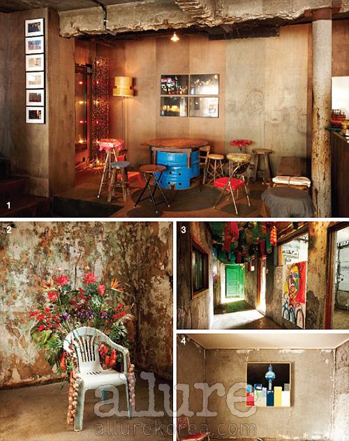 1 스페이스 꿀의 카페 공간. 공간마다 콘셉트가 다르다. 2 지하 1층에 전시된 아티스트의 작품. 3 스페이스 꿀은 여러 개의 쪽방이 연결된 듯한 대안공간으로 만들어졌다. 4 아티스트 성완경의 작품이 전시된 방.
