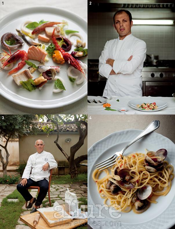 1 지우세패 코스타 셰프가 만든 프루타 디 마레 2 일 바발리노의 자우세패 코스타 셰프. 3 새로운 시칠리아 요리의 대부로 통하는 일 바로네의 페페 바로네 셰프. 4 페페 바로네 셰프가 만든 파스타.