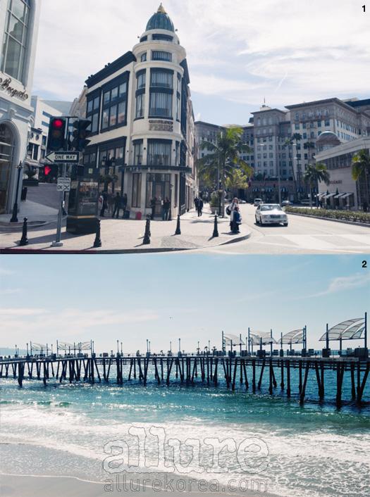 1 고급 쇼핑가로 유명한 로데오 드라이브. 2 레돈도 해변의 피어(Pier). 오래된 나무 기둥과 바다의 조화가 아름답다.