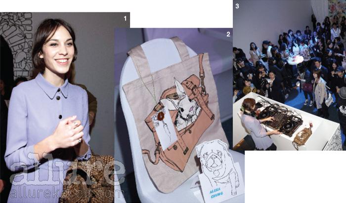 1 연보라색 미니드레스에 호피무늬 가방을 들고 나타난 알렉사 청. 2 프런트 로, 그녀를 위해 준비된 자리. 3 쇼가 끝난 후, 알렉사 청이 디제잉을 한 파티 타임.