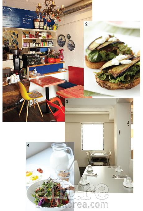 1 런던티의 실내. 2 구운 가지와 라코타 치즈를 올린 런던티 샌드위치. 3 씨리얼 고메의 실내. 4 씨리얼 고메의 브런치 세트.