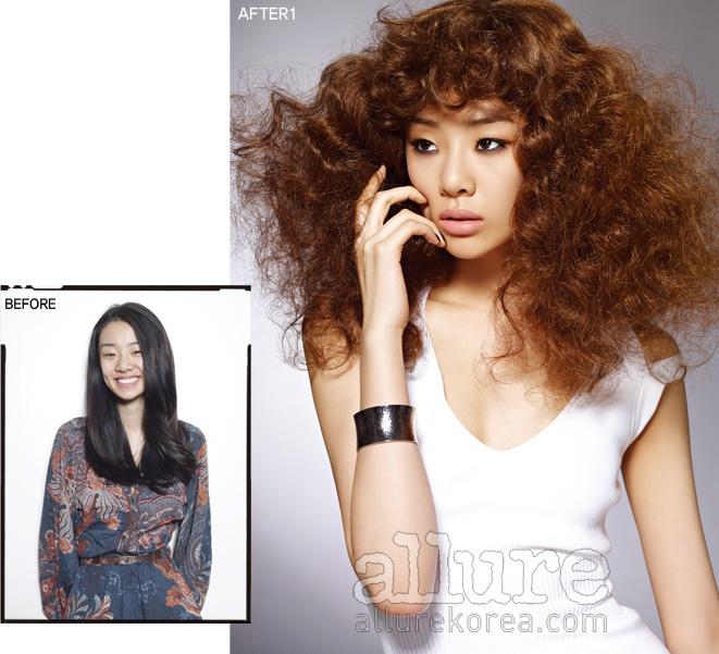 BEFORE 모델 스테파니 리는 유난히 검은 머리카락과 많은 머리숱이 고민이다.AFTER1 기존의 머리 색보다 밝아진 후 스테파니 리의 인상은 한층 세련돼 보인다. 원피스는 월포드(Wolford), 팔찌는 CK주얼리.
