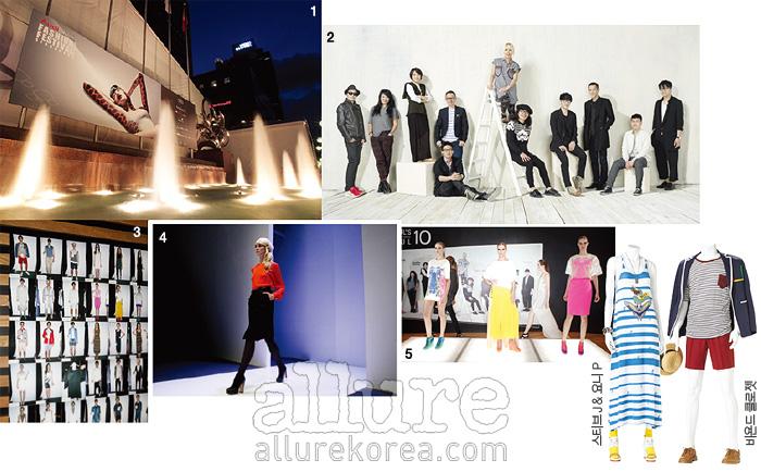 1 아우디 패션 페스티벌이 열린 싱가포르 오차드 로드의 텐트. 2 서울시의 글로벌 육성 프로젝트 'Seoul's 10 Soul'의 디자이너 10명도 이번 행사에 참여했다. 3 크루즈 룩 30벌을 선보인 'Seoul's 10 Soul' 패션쇼의 백스테이지 사진. 4 싱가포르의 대표적인 인터내셔널 브랜드, 라울(Raoul)의 쇼. 5 'Seoul's 10 Soul' 디자이너 김재현의 2012년 크루즈 컬렉션.