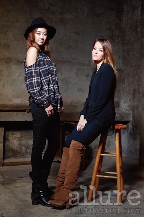 모델 못지않은 늘씬한 몸매와 앳된 분위기를 지닌 미모의 여인이 바로 디자이너 미쉘 씨위다. 씨위의 진으로 세련된 캐주얼 룩을 연출한 배우 최여진이 그녀와 동행했다.