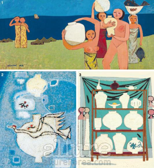 1. 항아리와 여인들, 1951 2. 항아리와 날으는 새, 1958 3. 항아리, 1956