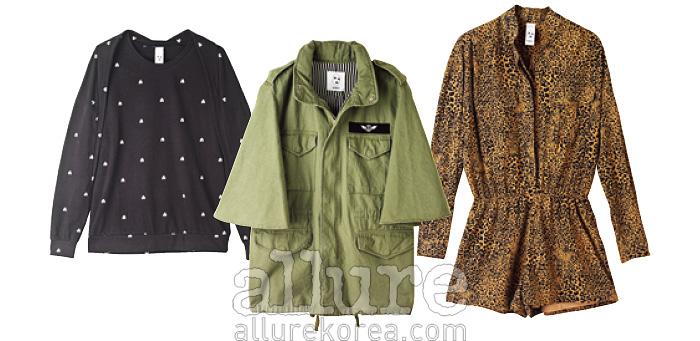 티셔츠는 6만원대, 재킷은 21만9천원, 점프슈트는 15만9천원.