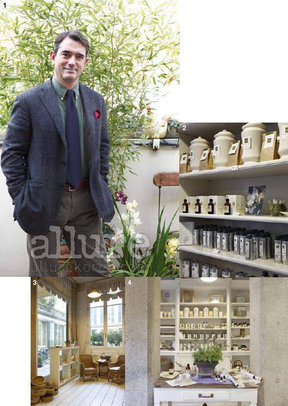 1. 자신의 뜰에서 포즈를 취한 오엠의 회장 루이지. 2. 밀라노 매장에서는 화장품뿐만 아니라 티와 꿀도 판매한다. 3,4. 토스카나 지방의 전통이 묻어나는 매장 인테리어.