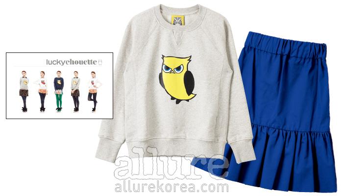 스웨트 셔츠는 14만8천원, 티어드 스커트는 17만8천원, 럭키슈에뜨(Luckychouette).
