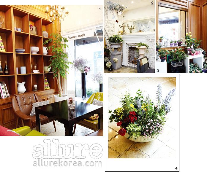 1. 파리의 노천 카페를 재현한 듀셀브리앙 1층의 카페 인테리어. 2. 1층과 또 다른 분위기를 내는 지하 카페의 모습. 3. 현관을 장식한 아기자기한 화분들. 4. 듀셀브리앙이 추천하는 아이비와, 종이꽃, 그리고 무스카니