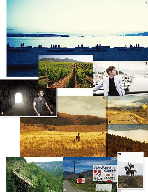 1. 밴쿠버 잉글리시 베이에 해가 진다. 2. 콜하버의 이준기. 3, 9 오카나간 지역의 와이너리와 과수원. 4, 8 캐틀 밸리 트레일 바이크에서 바이크를. 5. 동물의 천국 오소유스. 6. 미국의 국경, 보더크로싱 하이웨이. 7. 호수라기엔 너무 넓은 오카나간 호수. 10. 엔크밉 사막 문화센터.