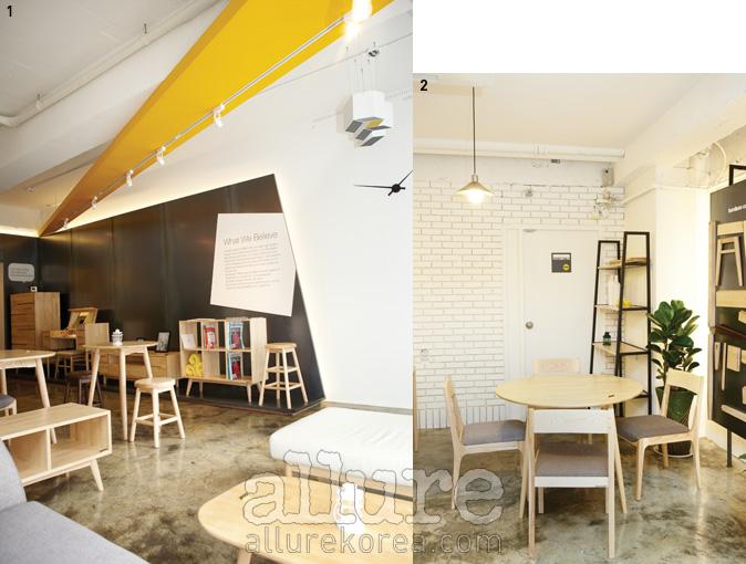 1 군더더기 없이 깔끔하게 진열된 카레클린트 더 카페. 2 안쪽으로 들어서면 침대,책장 등 더욱 다양한 가구를 만날 수 있다.