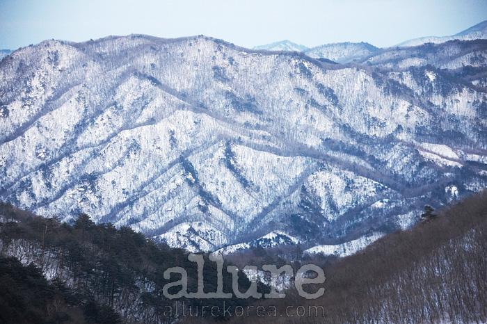 눈 내린 태백산맥의 모습