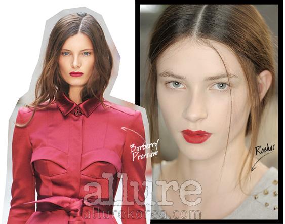 붉은색의 립스틱이부담스럽다면 산호색을선택하는 것도 방법이다.단 입술 중앙을 중심으로바르고 매트하게 표현할 것.