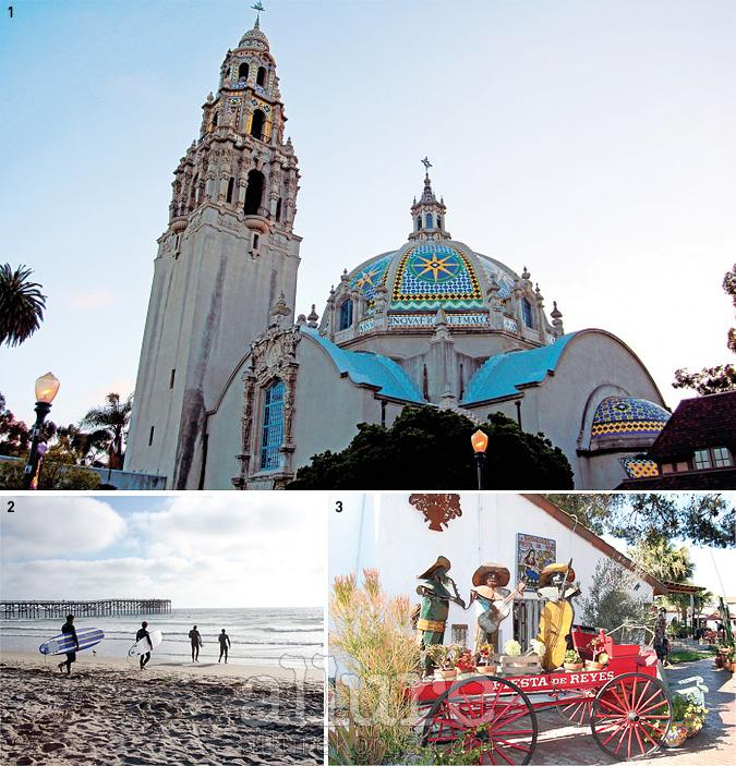 1 스페인 양식의 건물이 모인 크고 아름다운 공원 발보아 파크. 식물원, 회화 미술관, 사진미술관 등으로 사용 중이다. 2 패시픽 비치의 서퍼들. 샌디에이고의 많은 해변 중에서도청춘들이 가장 사랑하는 곳이다. 3 올드타운에서 캘리포니아의 역사가 시작되었다.