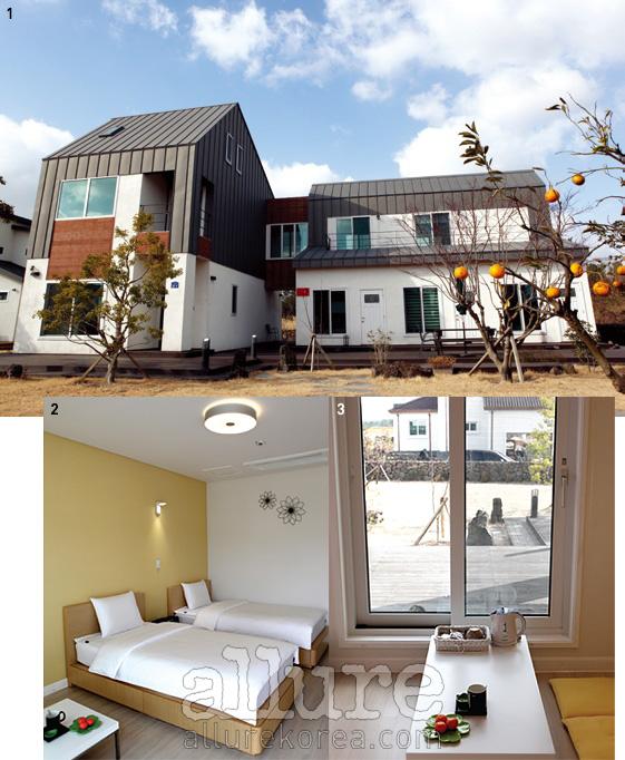 1 모던한 콘셉트로 지어진 게스트하우스 피우다. 2, 3 조용하고 평화로운여행을 돕는 피우다의 객실. 객실의 창밖으로 마당이 보인다.