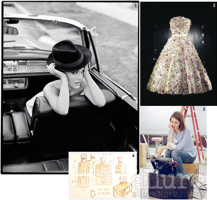 1 팀 워커가 촬영한 포트레이트. 그녀의 이지적인 매력이 가득 담겼다. 2 1949년 무슈디올이 만든 오트쿠튀르 드레스. 이번 촬영을 위해 이 전설적인 드레스를 재해석 했다.3 이번 필름을 연출한 소피아 코폴라.4 1947년 출시된 첫 미스 디올 향수 보틀의 스케치.