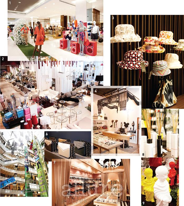 1, 4, 6 센트럴 월드에 들어선 로컬브랜드숍. 2, 9 인테리어 소품을 찾는다면방콕으로! 3 방콕의 에르메스라 불리는짐 톰슨 매장. 5 동남아시아에서 가장 큰쇼핑몰, 센트럴 월드. 7 방콕에 갔다면 속옷쇼핑을 잊지 말 것. 로컬 브랜드 보르두아바이 디자야의 쇼룸. 8 다양한 아로마와 스파브랜드도 만날 수 있다.