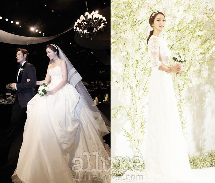 결혼식 기자회견에서는 청순한 레이스 드레스로, 본식에서는 풍성한 실루엣의드라마틱한 드레스로 두 가지 다른 웨딩 스타일링을 보여준 이민정.