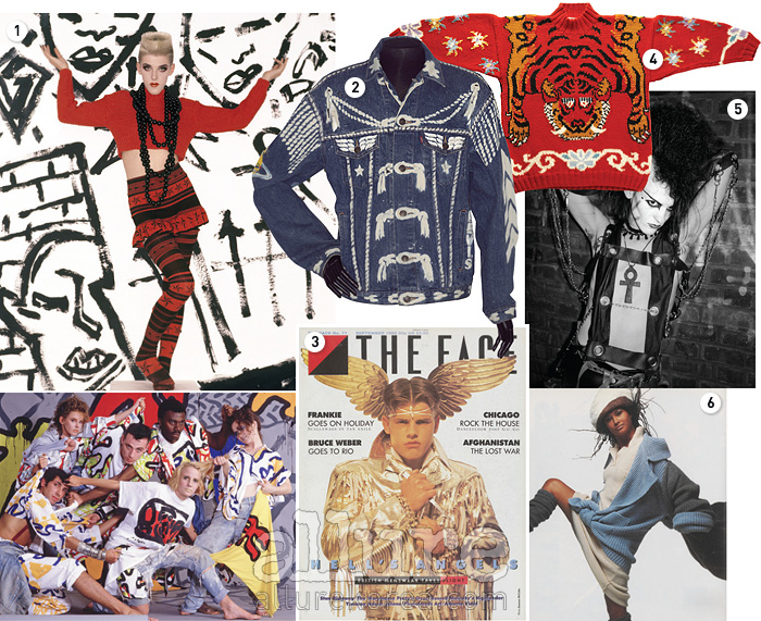 1. 1980년대 메이크업과 의상2. 1980년대 유행한 데님 재킷3. 1980년대 발행된  잡지4. 그 당시 즐겨 입었던 니트 스웨터5. 화려한 옷차림의 런던 클러버6. 1985년 의 패션화보
