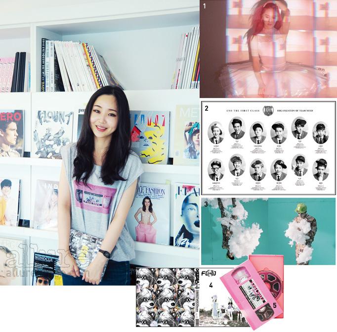 1 f(x) 'Pink Tape - Art Film'의 스틸 컷. 2  EXO의 정규 1집 앨범 의 포스터. 3 샤이니  앨범 내지. 4  f(x)  커버 이미지.5  f(x)  앨범.