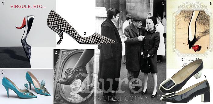 1 콤마힐이 인상적인 전시 포스터 2 하운즈투스 패턴의 2013년 가을/겨울 시즌 콤마힐 3 1960년대 크리스찬 디올의 펌프스 4   매거진에 실린 로저 비비에가 디자인한 크리스찬 디올의 이브닝 슈즈(1961) 5 필그림 슈즈를 신은 촬영장의 카트린 드뇌브(1967) 6 로저 비비에가 디자인한 슈즈를 전면에 내세운 1960년대 크리스찬 디올 광고 포스터 7 로저 비비에의 시그너처인 필그림 슈즈(1967)
