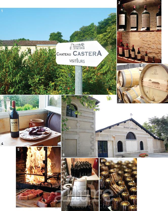 1 중세 시대에 지어진 샤토 카스테라. 손님들이 이 성의 침실에서 묵어 가기도 한다. 2, 6 샤토 모카이유에는 와인이 만들어지는 과정부터 와인에 대한 상식을 보기 좋게 꾸며놓은 박물관이 있다. 3 그랑 크뤼 4등급 샤토 탈보의 와인 저장고. 4 메독의 레드 와인은 육류와 아주 잘 어울린다. 돼지고기로 만든 차가운 전채 요리에 샤토 카스테라의 와인을 곁들였다.5 마른 포도나무 가지로 굽는 두툼한 티본 스테이크는 보르도의 명물이다. 7 라벨 작업까지 손으로 직접 하는 샤토 줄리아. 8 보르도에서 탄생한 디저트 카늘레.