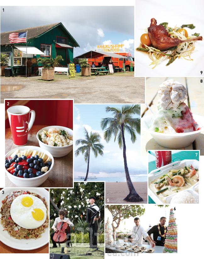 1 고속도로를 달리다 간이식당과 새우트럭을 만났다. 2 '보가트 카페'의 아사이볼을 맛보고 싶다면 아침 일찍 움직일 것. 3 '에그스&싱스'의 볶음밥. 4 페스티벌에 참가한 로컬 뮤지션. 5 하와이의 하늘과 바다는 평화롭다. 6 페스티벌을 찾은 페이스트리 셰프 로저 마이에. 7 푸드트럭에서 맛본 새우가 들어간 그린 커리. 8 하와이의 명물, 알록달록한 셰이브 아이스. 9 셰프 마브로의 비둘기 요리. 하와이에서는 포하 베리(Poha Berry)라고 불리는 골든 베리와 민들레잎을 곁들였다.