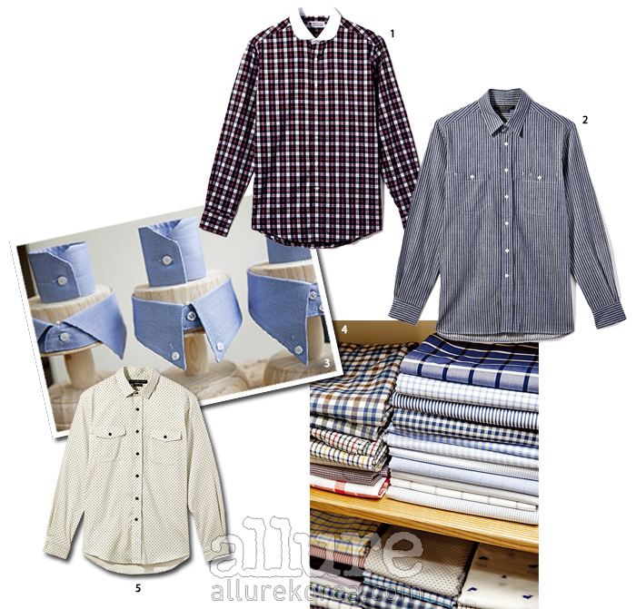 1 동그란 칼라 장식의 면 소재 체크 셔츠는 8만5천원. 2 데님 소재 줄무늬 셔츠는 10만9천원. 3 다양한 디자인의 칼라와 커프스 모양 샘플들. 4 매장에서 셔츠 원단 샘플을 직접 고를 수 있다. 5 코듀로이 소재 도트 프린트 셔츠는 10만9천원.