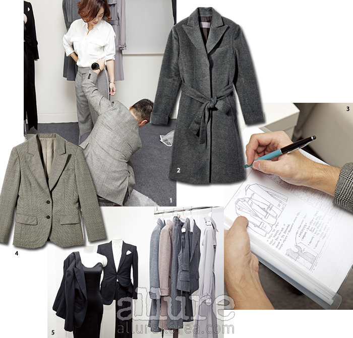 1 정확한 재단을 위해 사이즈를 재는 모습. 2 캐시미어 소재 코트는 1백만원대 중반. 3 사이즈와디자인을 꼼꼼히 적는다. 4 테일러드 슈트 재킷은 50만원대 초반. 5 백지훈 실장이 직접 디자인한 다양한 샘플 의상들.