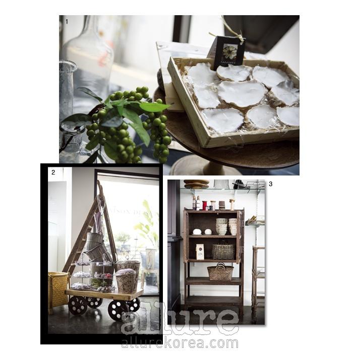 1 테이블에 올려두고 싶은 멋스러운 오브제들. 2 인테리어에도 재미를 주어 숍 이곳 저곳을 구경하는 재미가 있다. 3 수작업으로 만든 가방과 그릇.