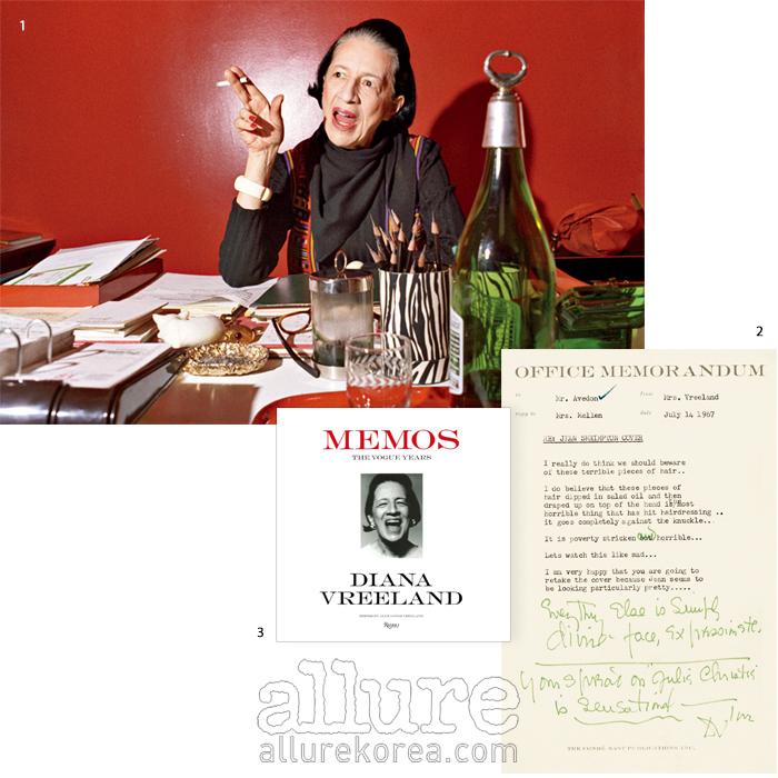 1 1972년 뉴욕 메트로폴리탄 박물관 코스튬 인스티튜트 사무실에서 포즈를 취한 다이아나 브릴랜드 2 다이아나 브릴랜드가 1967년  10월호 커버 촬영에 대해 사진가 리처드 아베돈에게 보낸 편지. 3 다이아나 브릴랜드의 편지를 모은 책, 의 표지.