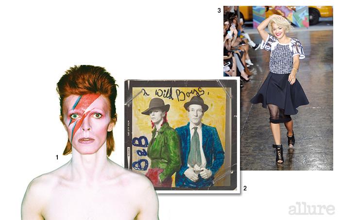 1 1972년 지기 스타더스트라는 이름으로 활동하던 시절의 데이비드 보위 2 1973년 의 저널리스트 크레이그와 함께 찍은 데이비드 보위 3 2014년 봄/여름 DKNY 컬렉션 피날레에 등장한 리타 오라