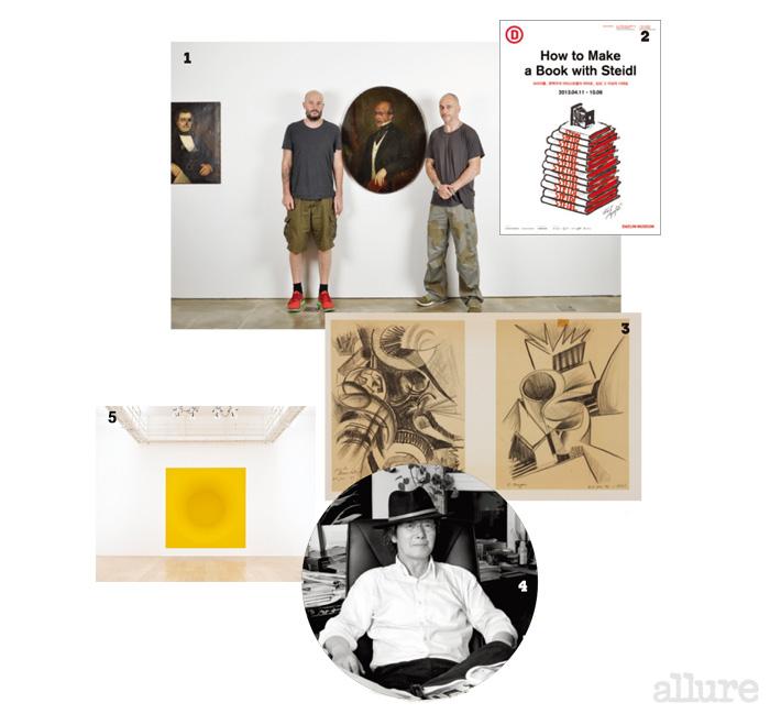1 자신들의 작품 앞에 선 채프만 형제. 2 책의 가치를 일깨워준 슈타이들 전. 3 국립현대미술관에서 만난 정기용 건축가의 드로잉.  4 생전의 정기용 건축가의 모습. 5 리움 미술관에 걸린 아니쉬 카푸어의 작품.