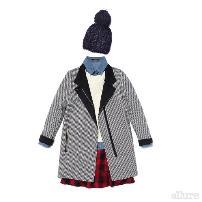 하운즈투스 재킷은 17만9천원, 데님 셔츠는 5만9천원, 스웨터는 6만9천원, 체크 스커트는 4만9천원, 니트 모자는 3만9천원, 모두 잭앤질(Jack&Jill).