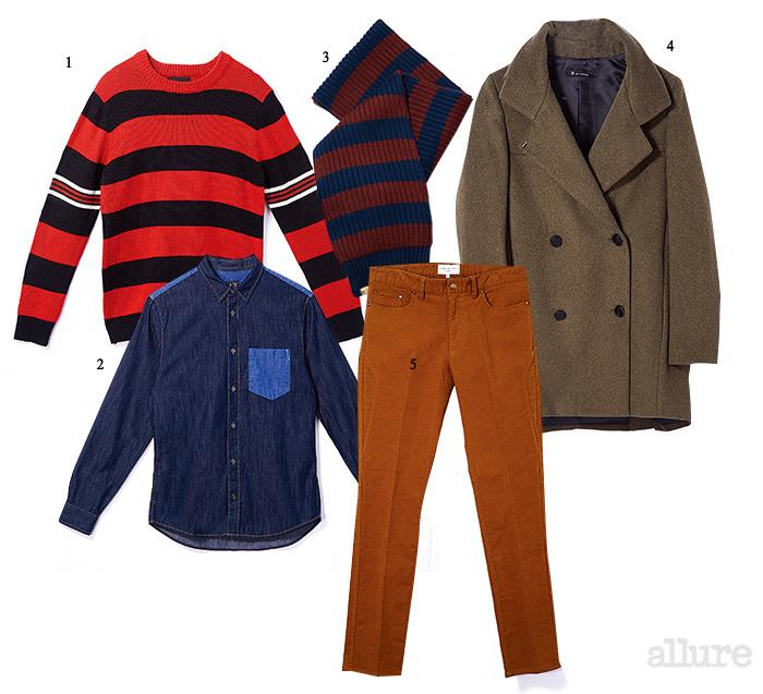 1 남자는 꼭 맞게, 여자는 오버사이즈로 입을 수 있는 아크릴소재 스트라이프 스웨터는 5만9천9백원, 에잇세컨즈. 2 서로 다른 컬러의 데님을 패치워크한 디테일이 경쾌한 셔츠는 21만8천원, 아르마니 익스체인지(Armani Exchange) 3 스트라이프 패턴 머플러는 7만5천원, 타미 힐피거 데님(Tommy Hilfiger Denim). 4 베이식 디자인과 넉넉한 품으로 남녀 모두 활용하기 좋은 울 소재 코트는 29만9천원, 잇미샤(It Michaa). 5 여자가 입었을 때 넉넉한 보이프렌드 실루엣을 선사하는 면소재 팬츠는 5만원대, 에잇세컨즈.