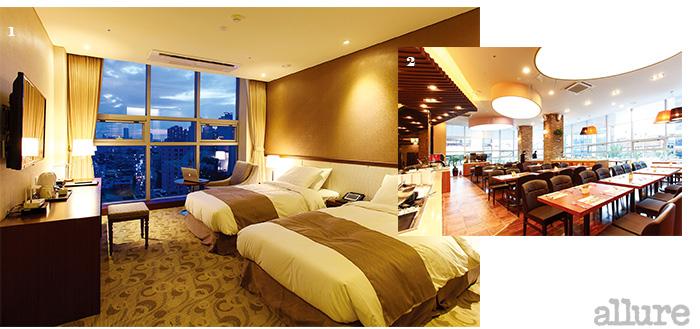 1 잠실의 전경이 보이는 로사나 부티크 호텔 2 아침과 저녁에 문을 여는 뷔페