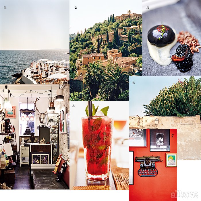 1 푸로비치의 매력적인 테라스 2 데이아 언덕에 위치한 아름다운 주택들. 3 환상적인 맛을 자랑하는 사란다 레스토랑의 갑오징어 캐비아 요리. 4 팔마의 앤티크숍 사 코스타. 5 푸로비치의 맛있는 칵테일, 6 팔마에 위치한 작가 로렌소의 집. 7 팔마의 카페 안티쿠아리에 걸린 매력적인 작품들.