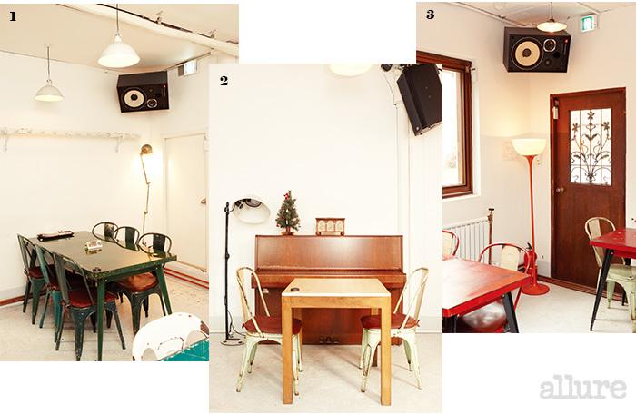 1 톨릭스의 가구와 조명으로 꾸며진 카페. 2 2층에 꾸며진 연주 공간. 3 스크린에서 영화 상영이 멈추지 않고 큰 스피커에서는 유괘한 음악이 흘러나온다.