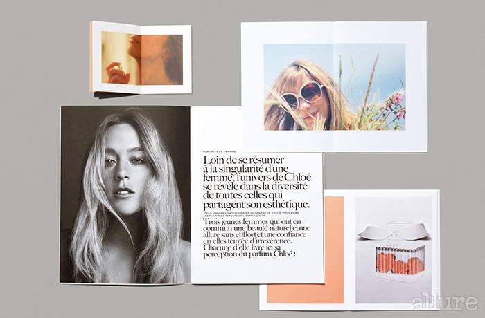 끌로에 향수는 끌로에 패션이 지향하는 여성스러우면서도 모던한 이미지를 전달하기 위해 힘쓴다. 브로슈어만으로도 향을 짐작할 수 있게 하는 것이 디자인의 목표이다.
