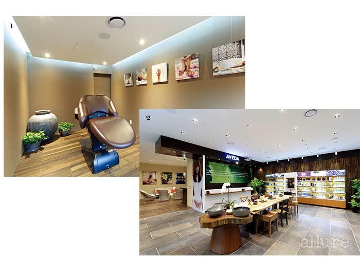 1 헤드스파를 진행하는 스파 베드. 2 아베다 익스피리언스 센터 1층에서는 아베다의 전 제품을 체험, 구매할 수 있다.