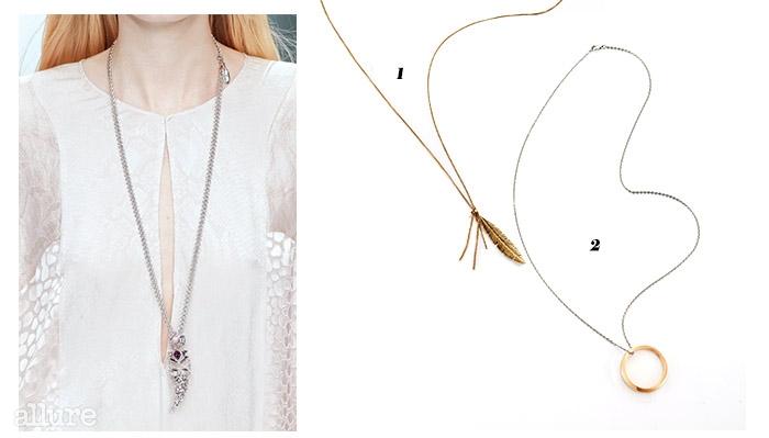 1 황동 소재 목걸이는 10만9천원, 필그림(Pilgrim). 2 스테인리스스틸 소재 목걸이는 가격미정, 캘빈 클라인 주얼리(Calvin Klein Jewelry).