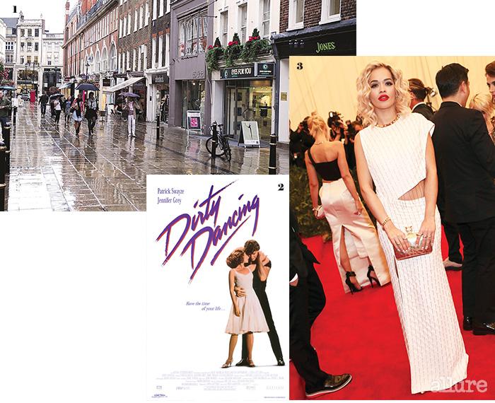 1 비 오는 런던의 거리. 2 영화  (1987)의 포스터. 3 스타일 아이콘으로 떠오른 리타 오라.