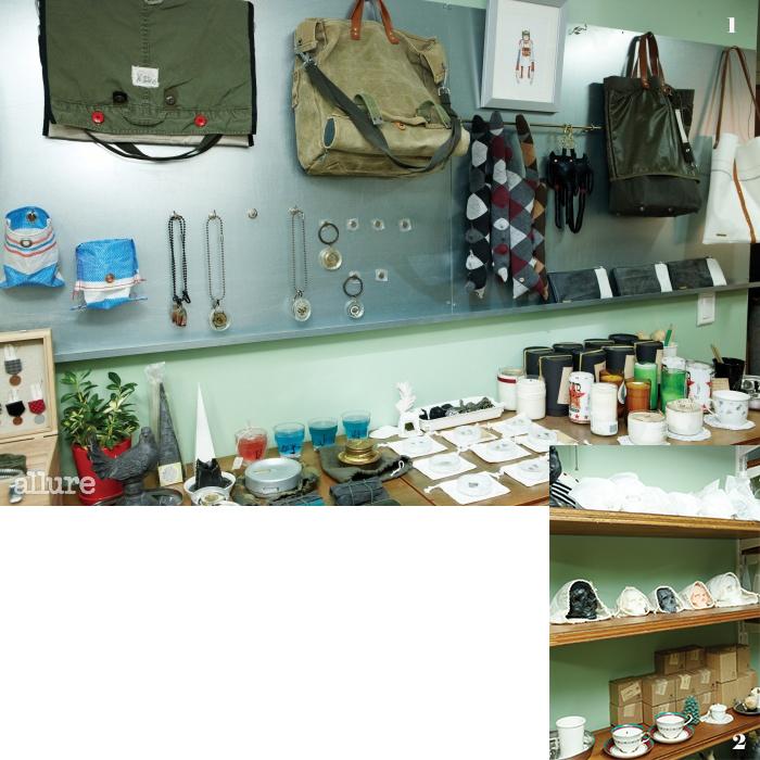 1 군부대에서 버려지는 의류로 만든 가방. 2 깨진 그릇을 재활용해 만든 향초.