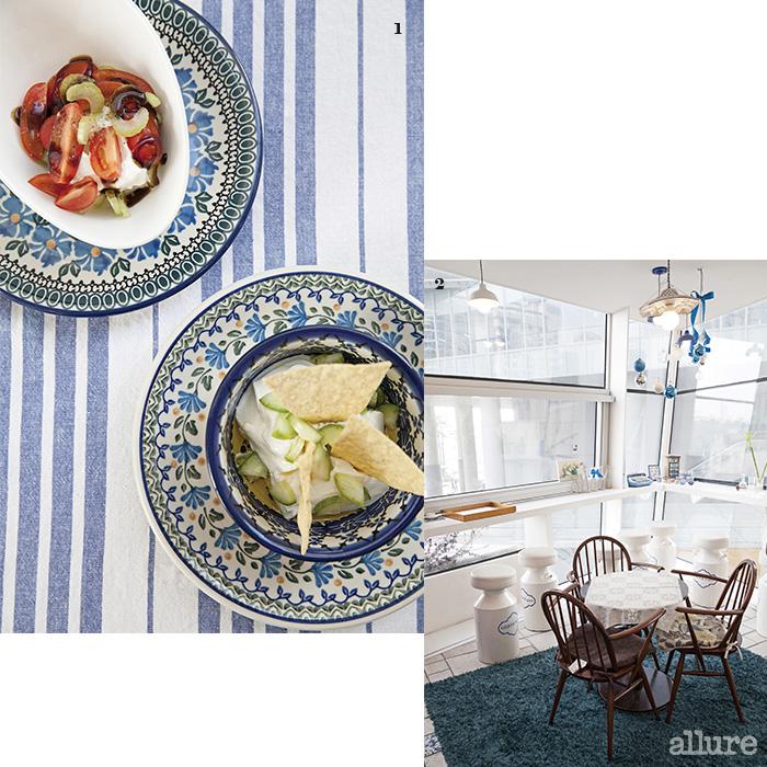 1 셀러리와 토마토. 그리고 오이와 토르티야칩을 올린 요거트 2 상쾌한 지중해의 풍경이 연상되는 실내