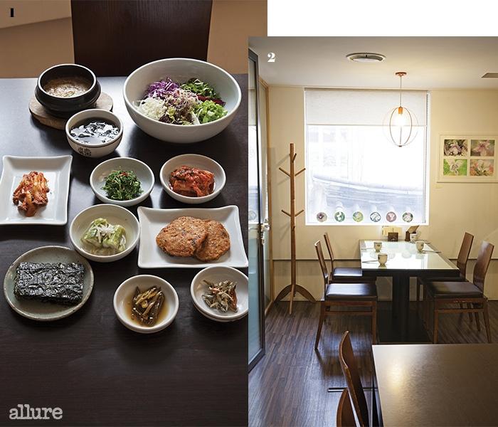 1 강된장에 비벼 먹는 생채비빔밥 정식 2 지리산 야생화를 모티프로 한 작품들